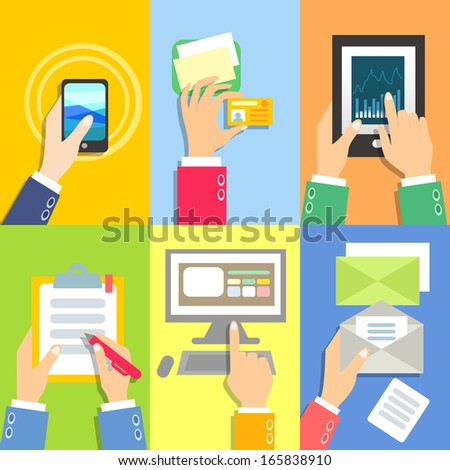 Set of business hands with business objects illustration
