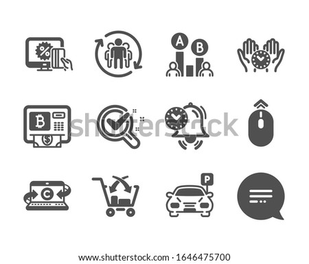 Set of Business icons, such as Safe time, Text message, Time management, Online shopping, Parking, Bitcoin atm, Cross sell, Chemistry lab, Copywriting notebook, Teamwork, Ab testing.