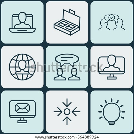 Set Of 9 Business Management Icons. Includes Dialogue, Email, Global Work And Other Symbols. Beautiful Design Elements. #564889924