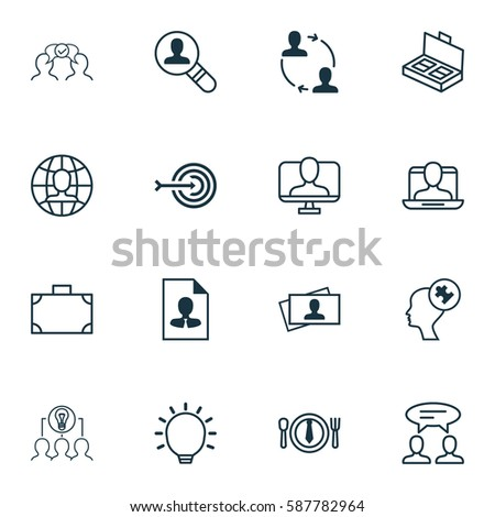 Set Of 16 Business Management Icons. Includes Global Work, Open Vacancy, Great Glimpse And Other Symbols. Beautiful Design Elements. #587782964