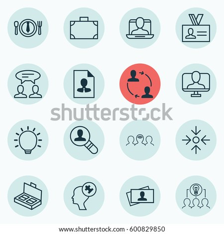 Set Of 16 Business Management Icons. Includes Great Glimpse, Calling Card, Coaching And Other Symbols. Beautiful Design Elements. #600829850