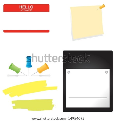 Set of business office supplies