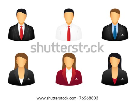 Set of business people icons. Vector available.