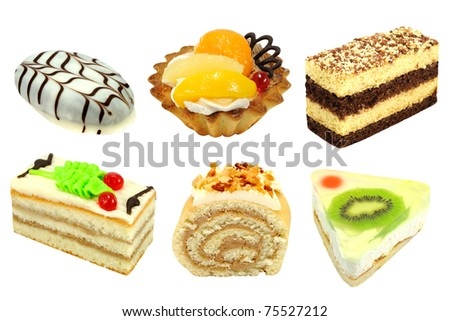 Set of 6 cakes isolated