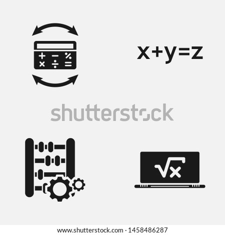 Set of calculating black and white   icons.