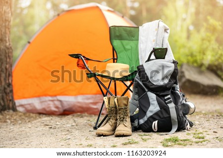 Set of camping equipment outdoors on summer day Stock photo ©