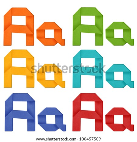 "Set of capital letter and lowercase letter ""A"" in various color. Origami alphabet  letter  on white background."
