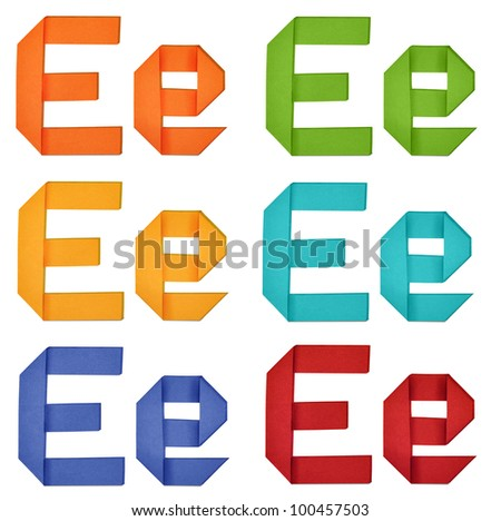 "Set of capital letter and lowercase letter ""E"" in various color. Origami alphabet  letter  on white background."