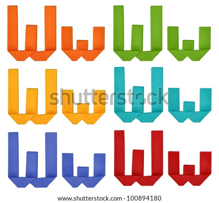 "Set of capital letter and lowercase letter ""W"" in various color. Origami alphabet  letter  on white background."