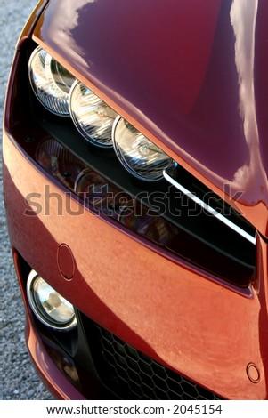 set of car headlights - stock photo