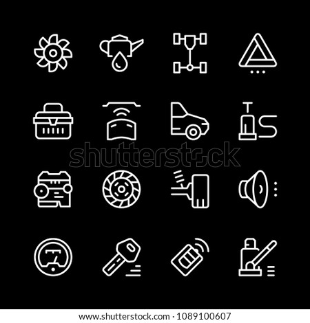 Set of car related line icons isolated on black