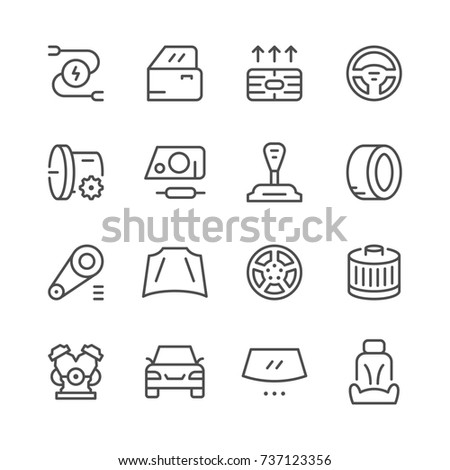 Set of car related line icons isolated on white