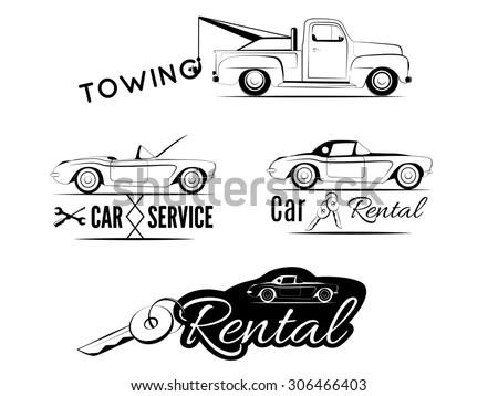 set of car service labels....