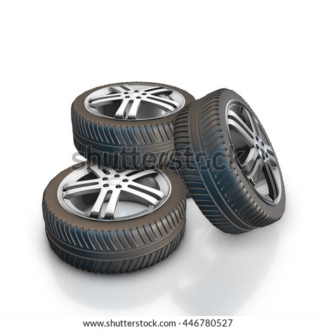 Set of car wheels and gold bullion isolated on a white background. 3d render #446780527