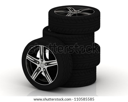 Set of car wheels isolated on white background - stock photo