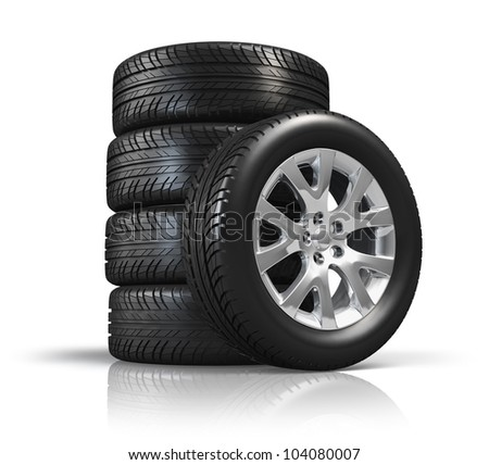 Set of car wheels isolated on white background with reflection effect