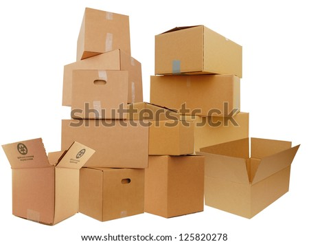 Set of cardboard boxes, isolated white background
