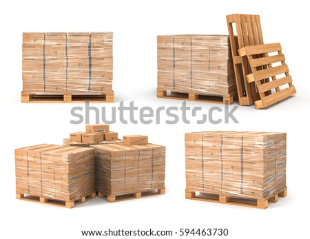Set of cardboard boxes on wooden pallet. Delivery concept. 3D illustration illustration isolated on white background