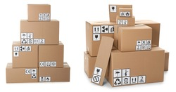 Set of cardboard boxes with packaging symbols on white background. Banner design