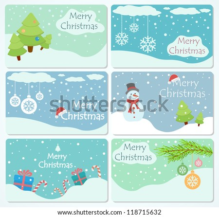Set of cards with Christmas trees, baubles, snowflakes, gift boxes and snowman, illustration.