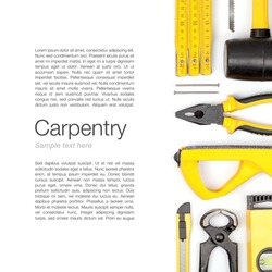 set of carpentry and woodwork industry tools on white background with copy space top view. carpenter working table