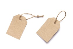 Set of carton tags for gift box with space for text on white background. Top view.