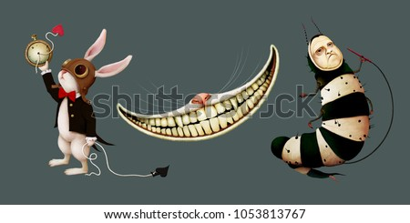Set of cartoon character in  story Wonderland with rabbit,  caterpillar and  Cheshire cat