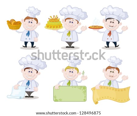 Set of cartoon cooks, chefs: hold basket of bread, cake, pizza, menus, posters.