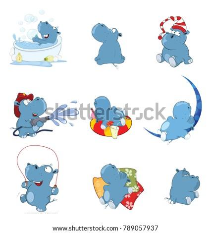 Set of  Cartoon Illustration.  A Cute Hippo for you Design