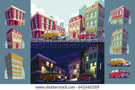 Set of cartoon illustrations of the historic urban area day and night, icons of buildings and cars in the cartoon style #642660289