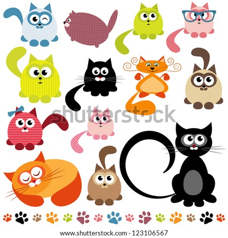 set of cats. Raster version