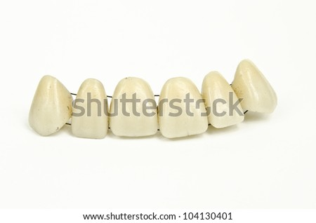 set of ceramic teeth, natural yellowed coloration