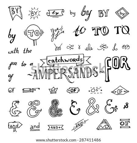 set of chalkboard style ampersands