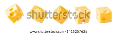 Set of cheese cubes isolated on white background.