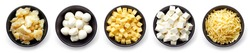 Set of cheese - parmesan, mozzarella, diced, grated and soft cheese in bowl isolated on white background, top view