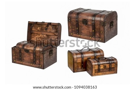 Set of chests treasure isolated on white background - chest box in chest box, closed chest box