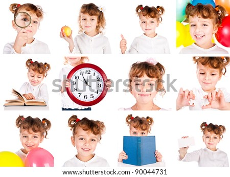 set of child isolated on a white background - stock photo