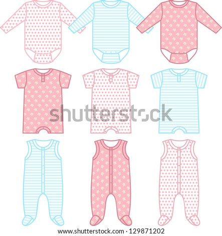 Set of child wear. Raster version, vector file available in portfolio. - stock photo