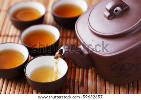 Set of China tea on bamboo mat,Closeup.