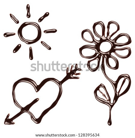 Set of chocolate syrup symbols: sun, heart, flower, arrow. Summer, love background.