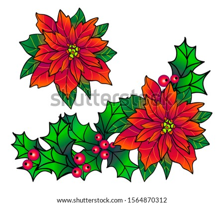 Set of Christmas decorations for banners, cards and web sites with poinsettia and holly. Corner holly and poinsettia garland - full color picture for decoration.
