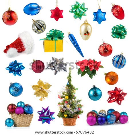 Set of Christmas decorations isolated on a white background