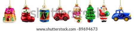 Set of christmas decorations isolated on white background