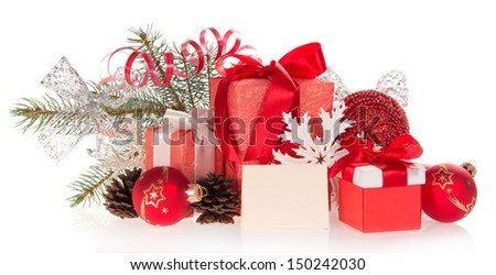Set of Christmas gifts and Christmas decorations, Christmas tinsel and empty card isolated on white - stock photo