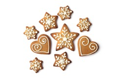 set of christmas gingerbread cookies isolated on white background