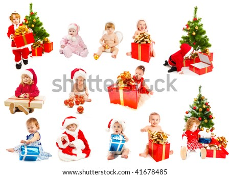 Set of Christmas kids - from infants to preschoolers