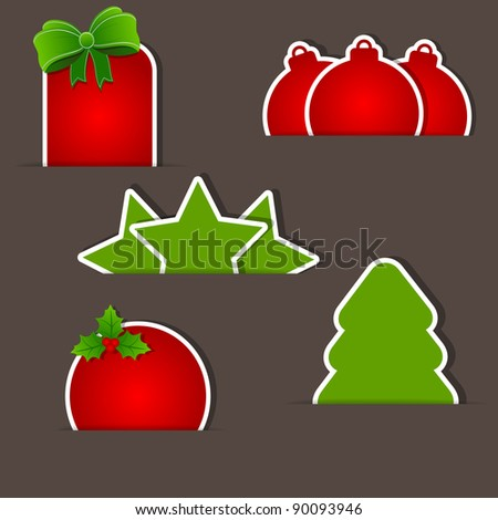 Set of christmas red and green tags - stock photo