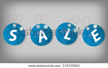 Set of Christmas Sale Tags.  Raster version  illustration - stock photo