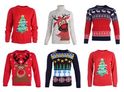 Set of Christmas sweaters on white background