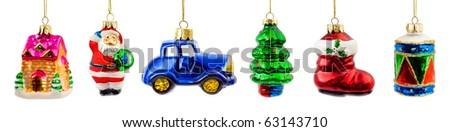 Stock Photo Set of christmas toys isolated on white background